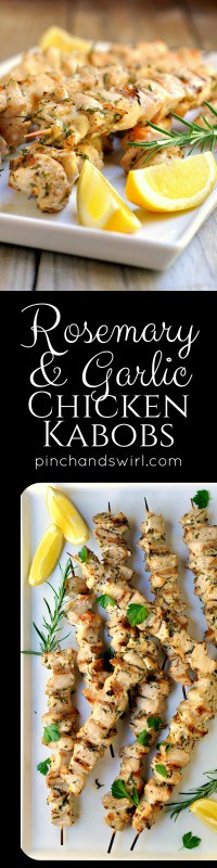 Rosemary and Garlic Chicken Kabobs are tender, juicy and full of flavor - a huge hit at any BBQ. And they're so simple to prepare with just chunks of chicken breast, olive oil, garlic, fresh rosemary, salt and pepper. Put the kabobs on the grill and in 15 minutes you'll be serving dinner!