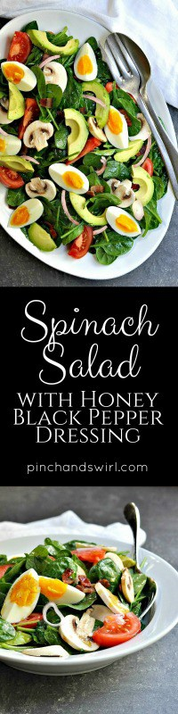 Spinach Salad recipes with bacon come in so many varieties, but this is my absolute favorite. I've been eating it since I was a kid and I never get tired of it. Imagine a delicious spicy-sweet honey and black pepper dressing coating a hearty salad of spinach, bacon, avocado, hard-boiled egg, mushroom, shallot and tomato. Sounds amazing, right!? Promise me you'll try it.