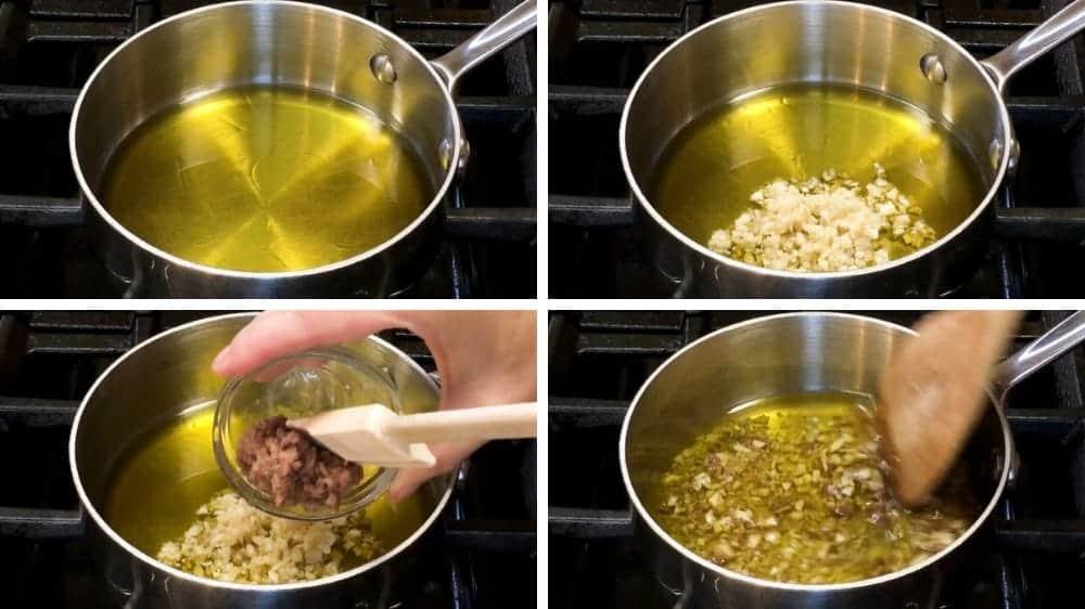 Adding Bagna Cauda ingredients to saucepan