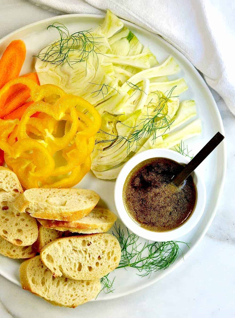 Homemade Bagna Cauda with Raw Vegetables and Bread