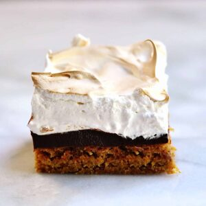 Smores-Brownie served on marble