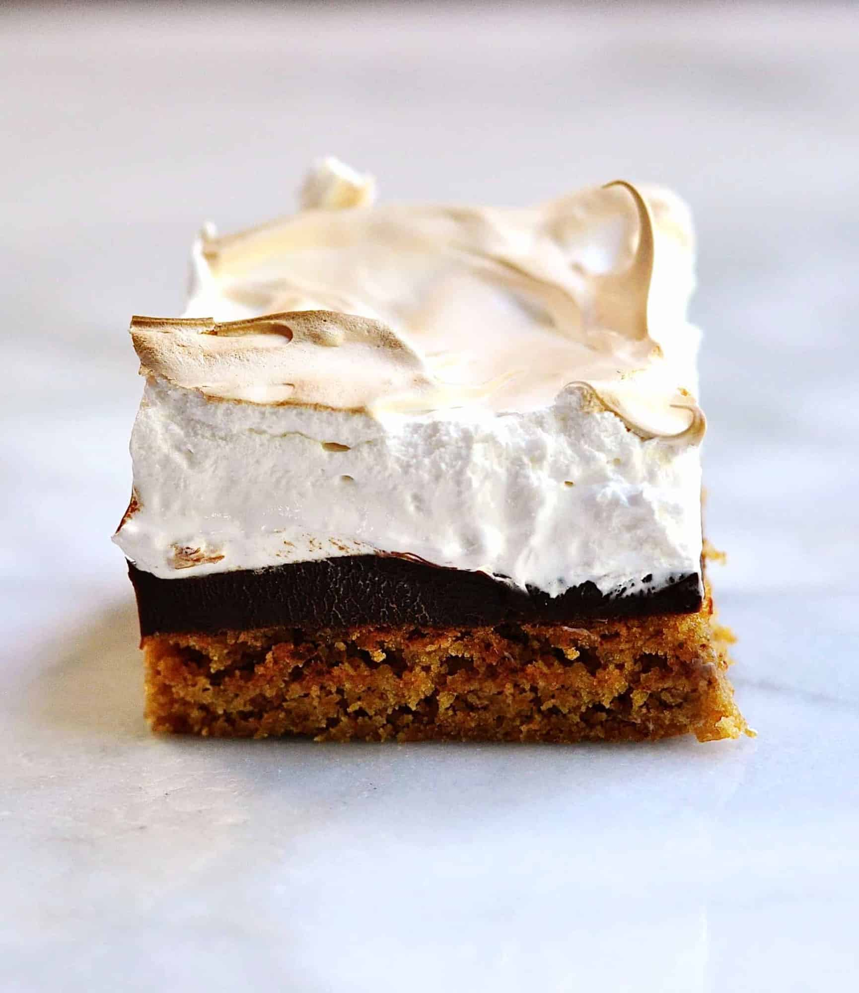 smores brownie served on marble