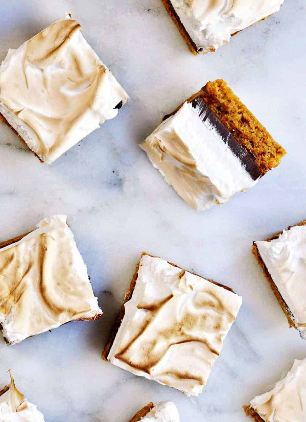 Smores Brownies on a marble platter