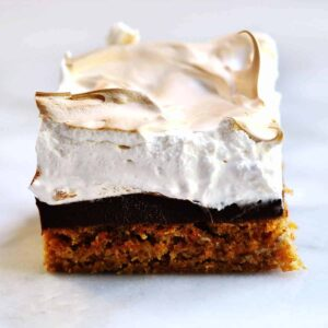 smores brownie on marble platter