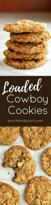 This recipe for Cowboy Cookies is for people like me who love cookies that are loaded with textures and flavors. These are chewy, bumpy, crunchy, sweet and tangy - made with whole grain flour, dark chocolate, dried cranberries, old-fashioned oats, coconut and walnuts.