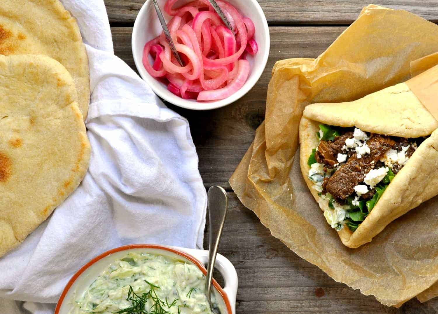 Lamb Shawarma with pickled red onions