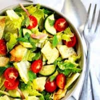Lebanese Fattoush Salad served in a ceramic bowl