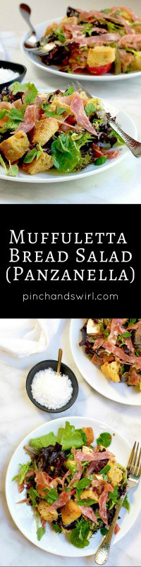 Muffuletta panzanella, meaning simply 'bread salad,' is a simplified and lightened up version of the legendary sandwich. But the flavor is unmistakably 'muffuletta'. Make this salad your own, swapping in your favorite combination of cheeses and cured meats.