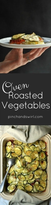 Oven Roasted Vegetables are a wonderful way to make the most of seasonal vegetables at their peak! Roast a large batch and you have the start of three meals. With the leftovers, make simple and delicious dishes like frittata and minestrone soup. #healthyrecipes #vegetarian #casserole #zucchini