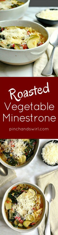 Roasted Vegetable Minestrone Soup is the perfect way to enjoy leftover roasted vegetables. Loaded with potatoes, zucchini, bell pepper, onion and tomato - such a satisfying soup recipe!