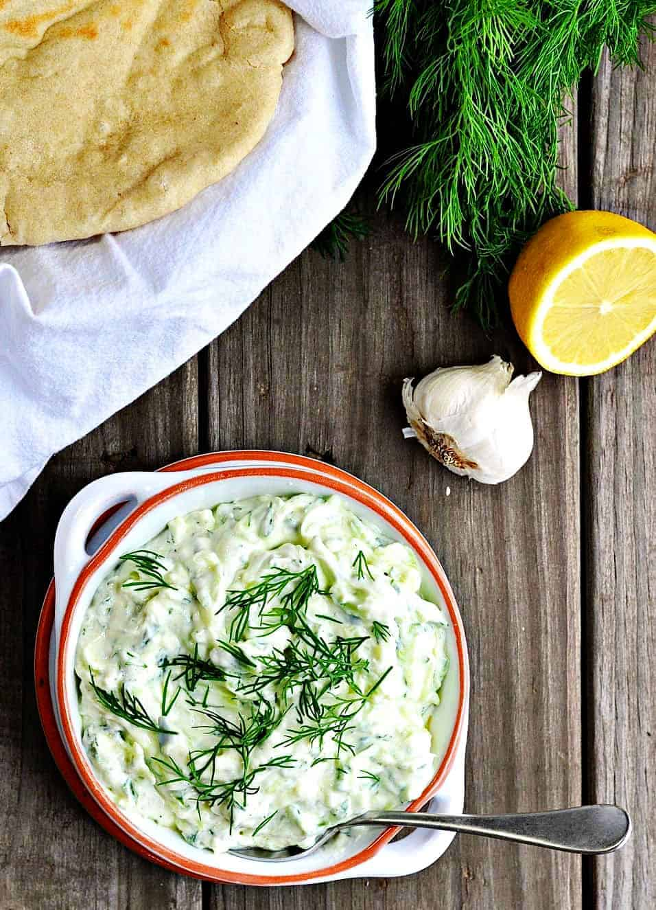 Tzatziki Sauce served with pita bread