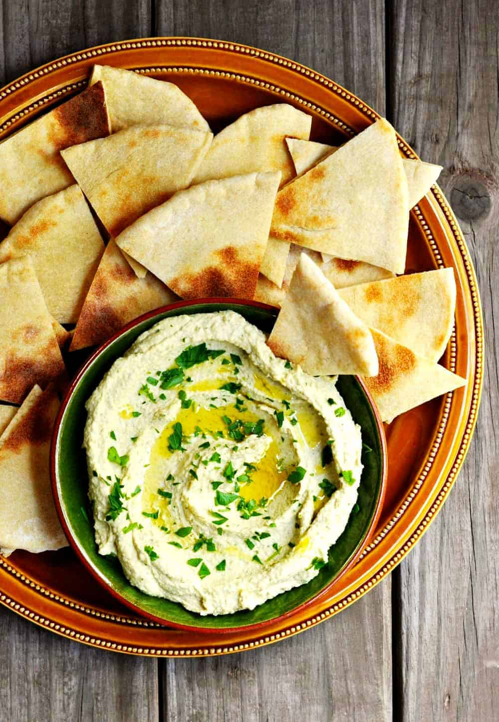 White-Bean-Hummus served on a platter