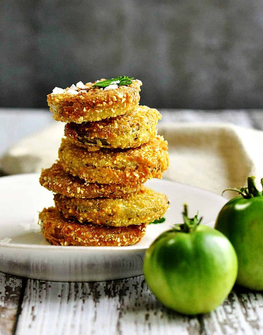 Fried-Green-Tomatoes-Stacked on a white plate