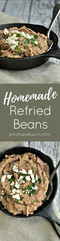 Until recently, I'd never considered making homemade refried beans. Now I doubt I'll ever do otherwise. They are so easy to make and the flavor and texture is far superior to what you'll eat from a can. #mexicanfood #cincodemayo #beans