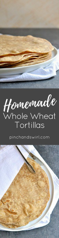 Make Homemade Whole Wheat Tortillas with just 4 ingredients and 30 seconds in the food processor (or 3 minutes kneading by hand). They are so much tastier than storebought tortillas! The tortilla dough comes together in just minutes with this recipe and making them is a snap: portion the dough, roll it out and cook in a dry skillet for a 30 seconds on each side. That's it! Use homemade tortillas for tacos, burritos, quesadillas, enchiladas or even tortilla pizzas for a quick and fun dinner. They freeze beautifully, so double the recipe to make a big batch!#MexicanFood #HomemadeTortillas #EasyRecipes