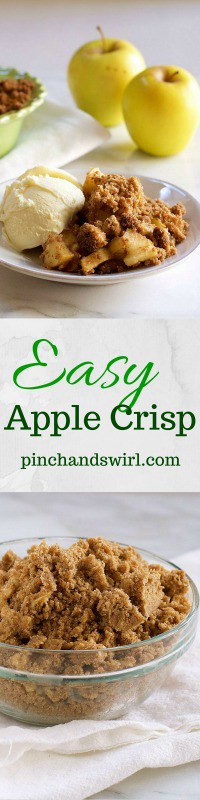 This Apple Crisp recipe comes together in just moments with the help of a super simple topping recipe. #applecrisp #apples #applepie #recipe #dessert #easyrecipe