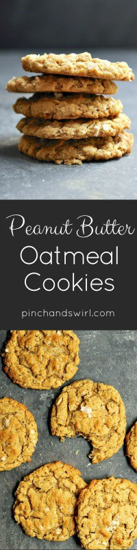 These Peanut Butter Oatmeal Cookies are crispy around the edges and chewy in the middle. The dough is feather light and made in minutes. Chill it first and cook as many cookies as you like then freeze the rest - they freeze beautifully and you can bake them straight from the freezer! With whole grain flour, chunky peanut butter, ground walnuts, hearty oats, and a crunchy sea salt finish, these will become your go-to recipe for Peanut Butter Oatmeal Cookies!