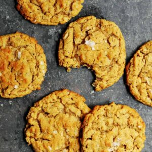 Peanut Butter Oatmeal Cookies on black marble