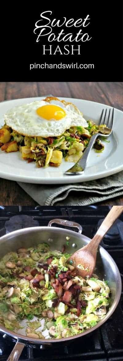 Sweet Potato Hash is a delicious combination of crispy sweet potatoes, tender mushrooms and shaved Brussels sprouts with bacon all topped with a friedegg egg. It makes the perfect meal for any time of day! #sweetpotato #hash #friedegg