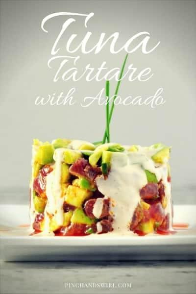 This simple Tuna Tartare with Avocado recipe is straight from Michelin Star restaurant, K&L Bistro in Sebastopol, California. A delicious combination of sushi grade Ahi Tuna, buttery avocado, chives with a drizzle of creamy sriracha dressing - I bet it will be the most delicious tuna tartare that you've ever tasted!