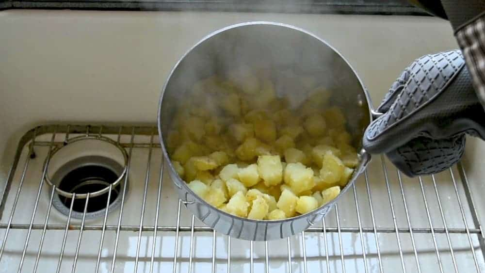 fuzzy parboiled potatoes