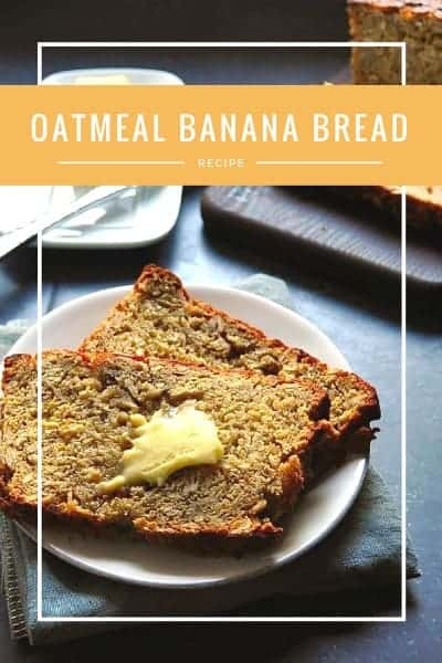 Imagine waking up to a toasted slice of Oatmeal Banana Bread slathered in butter. Not a bad way to start the day! Especially when this delicious quick bread recipe is loaded with nutritious things like oats, bananas and whole grain flour!