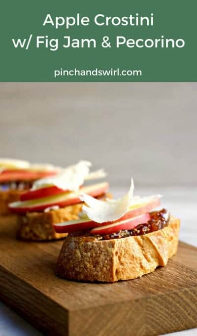 Just a few simple ingredients in these Apple Crostini with Fig Jam and Pecorino! This recipe is for 12 crostini, but scales easily for as many as you need. Serve these delicious crostini at your next party! #crostini #crostinirecipes #appetizersforacrowd #partyfoods