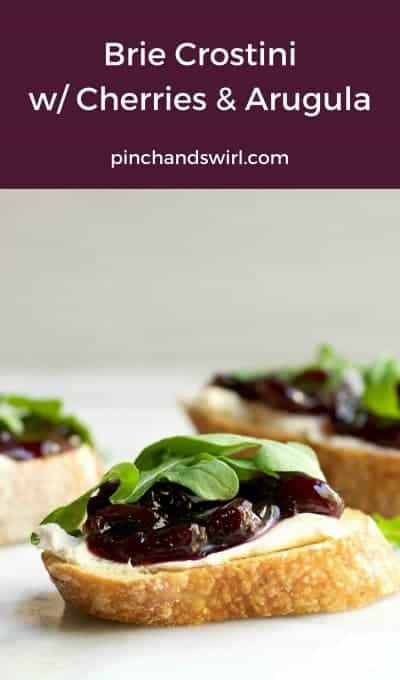 With just 4 everyday ingredients, you can make these delicious Brie Crostini with Cherry Preserves and Arugula! #crostini #crostinirecipes #appetizersforacrowd #partyfoods