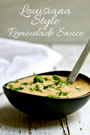 Spicy Louisiana Style Remoulade recipe - perfect for crab cakes, as a dip for boiled shrimp, po' boy sandwiches, and Shrimp Remoulade.