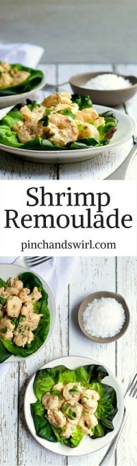 Shrimp Remoulade is my favorite way to use spicy remoulade sauce! Just toss with cooked shrimp and serve over crunchy butter lettuce - pure heaven! #shrimp #shrimpremoulade #condiment #southernfood