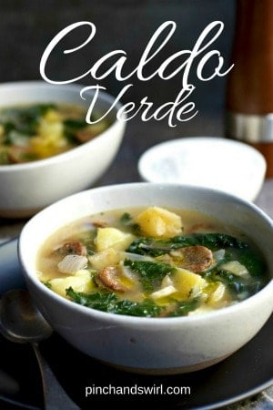 An easy and delicious Portuguese Caldo Verde recipe! Caldo Verde soup is a satisfying mixture of kale (or collard greens), potatoes, garlic and smoked sausage! #caldoverde #souprecipes #soupoftheday