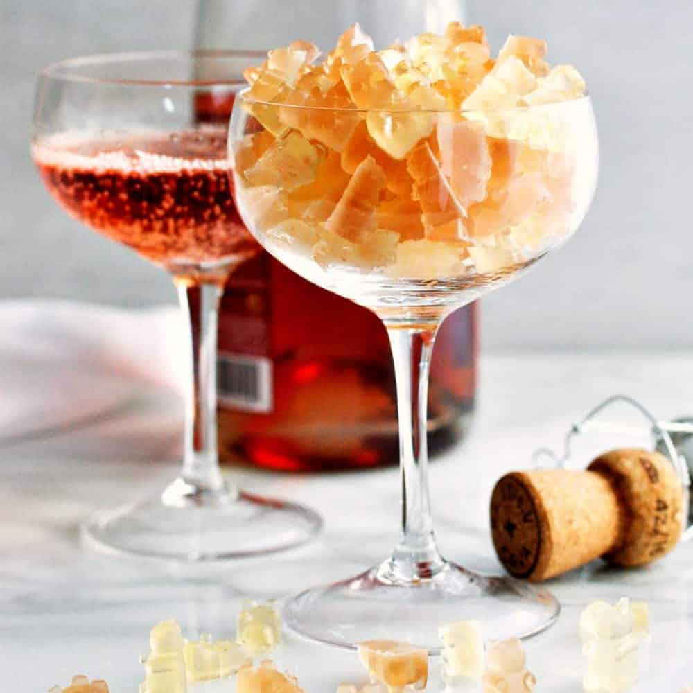 Champagne-Gummy-Bears_served in a coupe