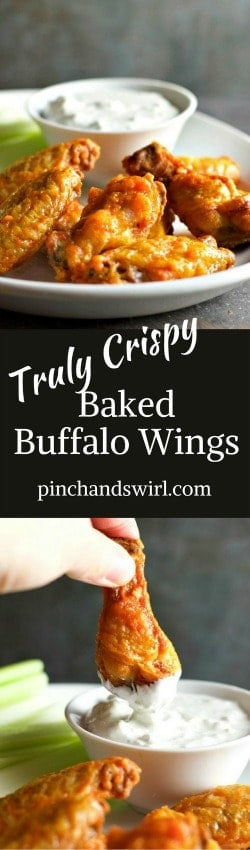 Crispy Baked Buffalo Wings with Blue Cheese Dip Pinterest pin