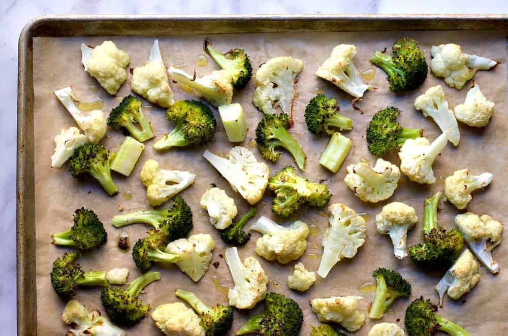 Roasted Broccoli and Cauliflower ready to serve