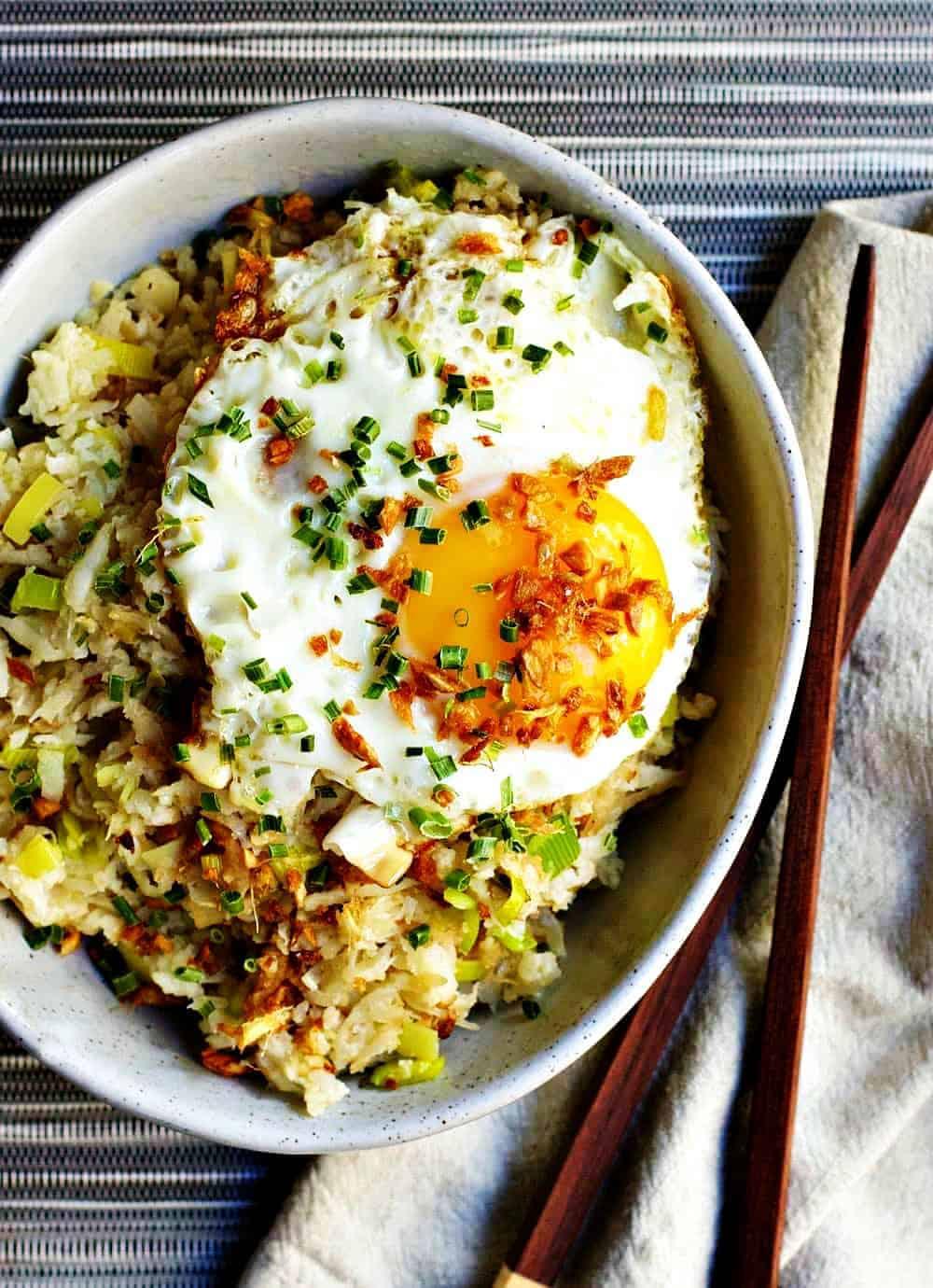 Cauliflower Fried Rice served with Chopsticks and Napkin