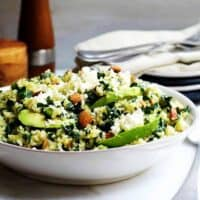 Kale-and-Quinoa-Salad served in a shallow bowl