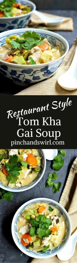 An easy and delicious recipe for the traditional Thai restaurant soup: Tom Kha Gai. It's a flavor explosion of lime, lemongrass, galangal, ginger & coconut! #thaifood #tomkhagai #soupoftheday #easysouprecipe