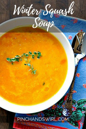 This delicious Winter Squash soup is so satisfying and creamy with gruyere cheese. Use any winter squash you like in this simple and comforting recipe! #squash #vegetarianrecipes #cheesy
