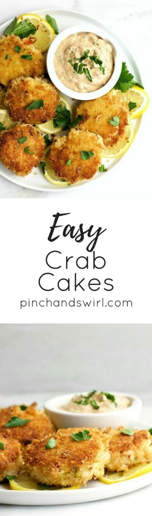 Easy Crab Cakes on a white plate with title