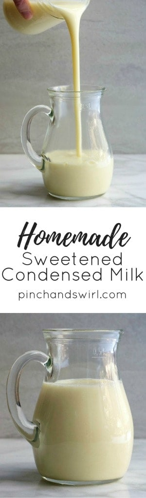 Two photos of Homemade Sweetened Condensed Milk in a glass pitcher