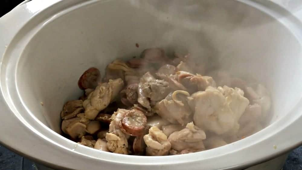 Adding Meat Mixture to Slow Cooker