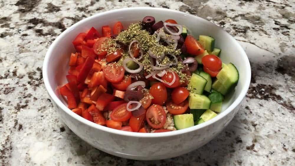 Greek Farro Salad before tossing
