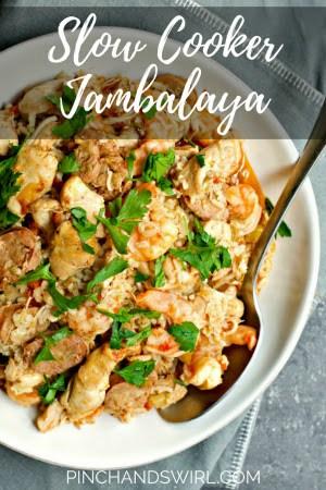 Jambalaya served in a large bowl.