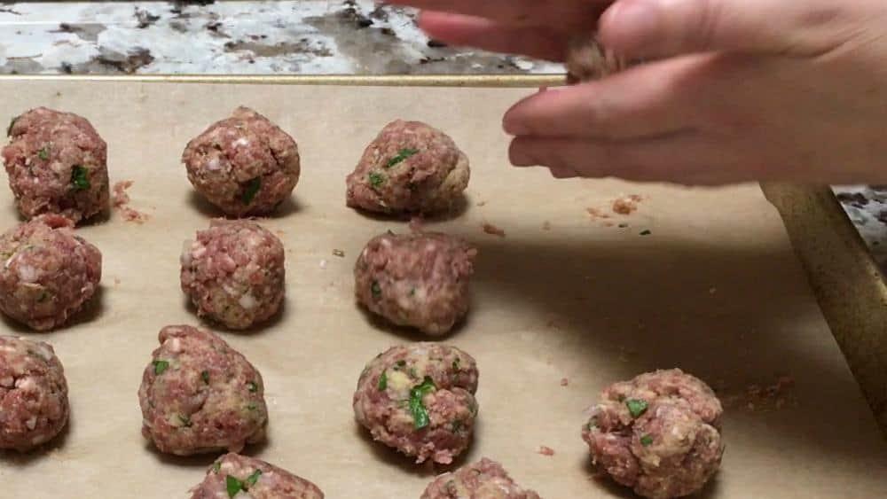 Shaping Lamb Meatballs
