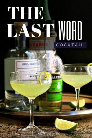 The Last Word cocktail served in a champagne coup with bottles behind