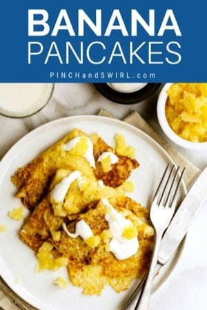banana pancakes served on a white plate with crushed pineapple and sweetened creme fraiche.