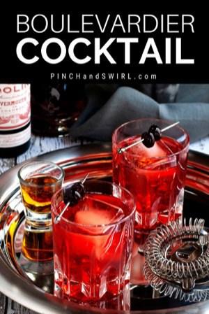 Boulevardier Cocktails served on a silver platter