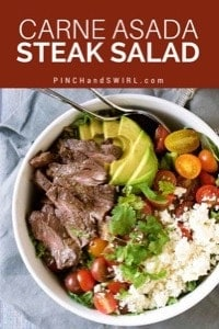 Carne Asada Steak Salad in a white bowl with Mojo dressing being poured over