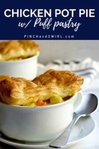 Individual Chicken Pot Pie with Puff Pastry served in individual baking dishes
