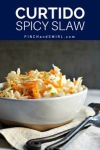 Curtido spicy slaw served in a ceramic bowl